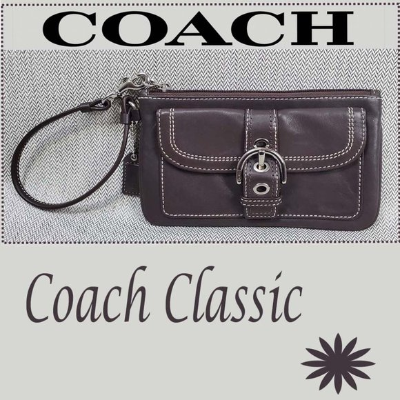 Coach Brown Smooth Leather Wristlet Buckle Detail